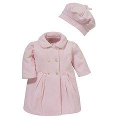 Buy Emile et Rose Baby Daska Velour Coat & Hat Set, Pink Online at johnlewis.com