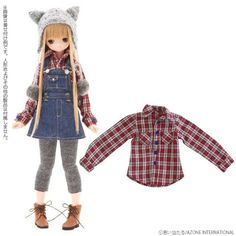 Azone Pureneemo Snotty cat Sunny Check Shirt Dark Red Check Blythe Momoko Doll in Dolls & Bears, Dolls, By Brand, Company, Character | eBay