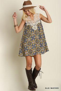 Boho Print Dress - Blue/Mustard