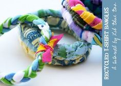 perfect DIY tshirt scrap bracelets..add in some lace and a pearl strand..very cute. Perfect for TWEENS