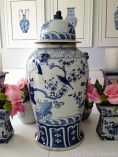 17 Inch Ginger Jar, pink pagoda