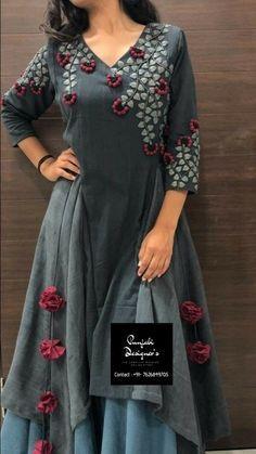 Indian Style kurta dress With palazzo newTopTunic Set blouse Combo Ethnic Bottom Salwar Designs, Kurta Designs Women, Kurti Designs Party Wear, Printed Kurti Designs, New Kurti Designs, Designer Kurtis, Kurti Embroidery Design, Embroidery Dress, Dress Neck Designs