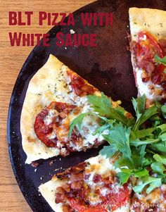 BLT Pizza with White Sauce | Taking On Magazines | www.takingonmagazines.com | Just like it sounds, the BLT Pizza with White Sauce is just like the sandwich, but much, much more fun.
