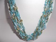 Crochet Necklace - Necklace Ribbon Lace -   Crochet   Trellis Ribbon -  Lace Fiber - Yarn Necklace Blues and Tan - Gift Idea by DelsYarnBasket on Etsy