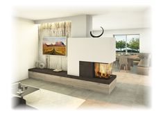 Fireplace: device as a room divider with TV … - Modern Home Fireplace, Modern Fireplace, Living Room With Fireplace, Fireplace Design, Open Plan Kitchen Living Room, Home Living Room, Living Room Decor, Room Inspiration, House Design