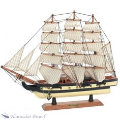 Multiple Canvas Sail with Wooden Model Ship with anchor