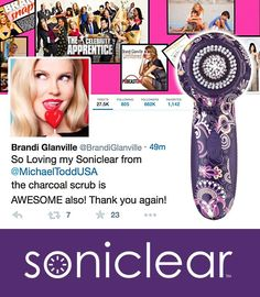 Now we know why Brandi Glanville has amazing looking skin!  (Hint: She uses Michael Todd Soniclear and Jojoba Charcoal Facial Scrub!)
