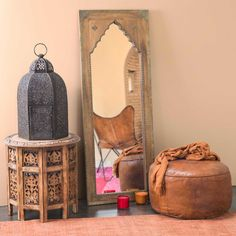 Spiegel geschnitzt aus Mangoholz und Metall H 122 cm SAHARANPUR