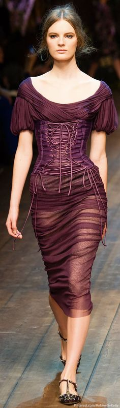 Dolce & Gabbana / F/W 2014 RTW.  I love the deep richness of the color, the draping is beautiful and the corset gives shape.  Great look!