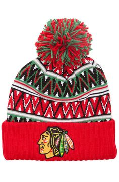 The Chicago Blackhawks Tribal Hi 5 Pom Beanie 716c8c304e58