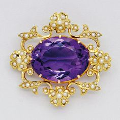 Antique Amethyst, Seed Pearl and 14K Gold Brooch, Birks, circa 1900  width 1 1/2 ins, height 1 1/4 ins