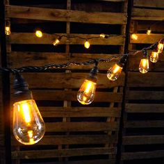 Commercial LED Edison String Lights, 25 Amber Globes, Black Wire