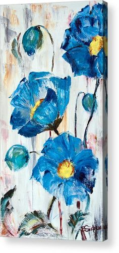 Blue Poppies Acrylic Print by Sharon Sieben.  All acrylic prints are professionally printed, packaged, and shipped within 3 - 4 business days and delivered ready-to-hang on your wall. Choose from multiple sizes and mounting options.