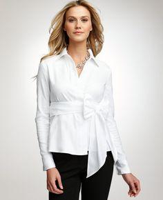 368f6260babc5 Ann taylor cotton twill wrap blouse nwt  68 2 white