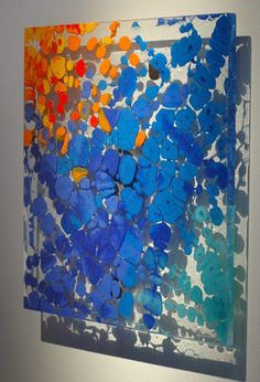 "Orfeo Quagliata fused glass 17.5""h x 17.5""w x .25""d"