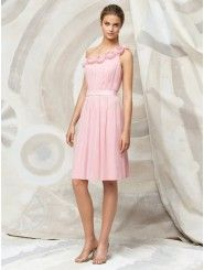 Chiffon One Shoulder Delicately Pleated Bodice Cocktail Party Dress