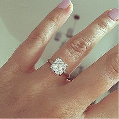 Cushion cut engagement ring cake pop nail polish simple diamond plain band