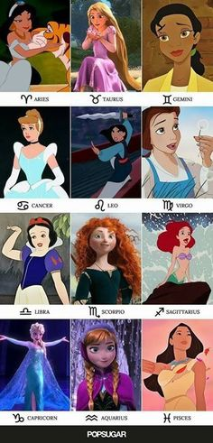 Disney Princesses and the Zodiac signs they represent. Disney Princesses and the Zodiac signs they represent. Zodiac Sign Traits, Zodiac Signs Astrology, Zodiac Symbols, Zodiac Star Signs, Zodiac Horoscope, Pisces, Virgo Facts, Sagittarius Funny, Zodiac Signs Animals