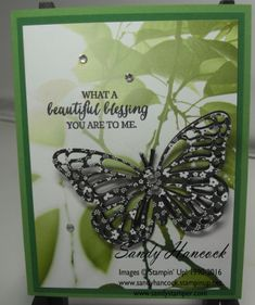 by Sandy: Rose Wonder, Serene Scenery dsp stack, Neutrals dsp stack, Butterflies Thinlits - all from Stampin' Up! Hat Tutorial, Making Greeting Cards, Butterfly Cards, Masculine Cards, Sympathy Cards, Paper Cards, Paper Design, Craft Fairs, Stampin Up Cards