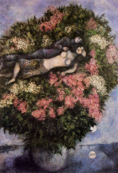Marc Chagall - Lovers Among Lilacs