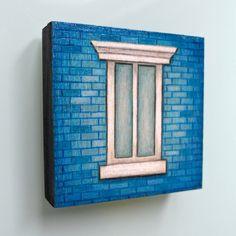 Blue brick NYC window ready to hang original by LauraKaardalArtist  #urban #city #newyorkcity #windowsill #architecture #originalart #art #drawing #handmade #wood #painting #readytohang #decor #homedecor