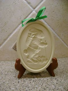 Retired Brown Bag Cookie Art  BACKPACK BUNNY Cookie Mold With Original Cookie Recipe Book