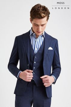Buy Moss London Skinny Fit Navy Linen Jacket from the Next UK online shop Buy Moss, Moss Bros, Linen Jackets, Linen Trousers, Uk Online, Skinny Fit, Suit Jacket, Mens Fashion, Moda Masculina