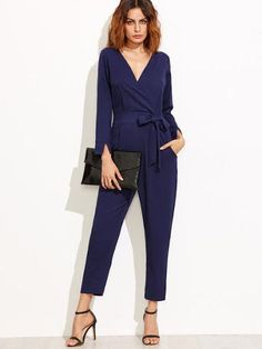 V Neck Self Tie Jumpsuit at INR 2299/- from @SRStore Royal blue jumpsuit is perfect for dinner date. #royalblue #jumpsuitlove #trendalert #dinnerdate