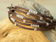 Sterling Silver and Chocolate Brown Leather Bracelet by TANGRA2009, $59.00