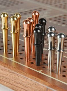 "12-classic Cribbage Board Pegs For 1/8"" 3 Ea -brass, Copper , Stainless & Black"
