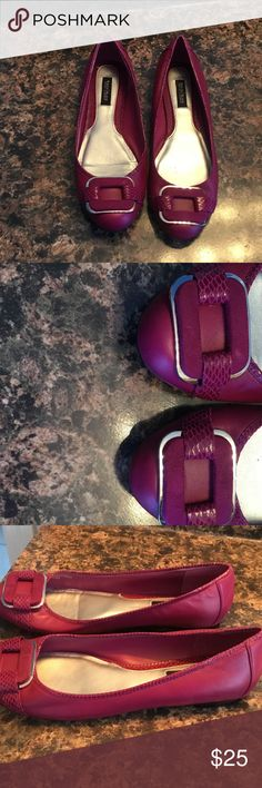 Fuchsia White House black market flats So cute... leather and suede flats. Perfect condition. White House Black Market Shoes Flats & Loafers