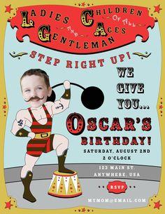 Circus Strongman Birthday Party Invitation. $25.00, via Etsy.