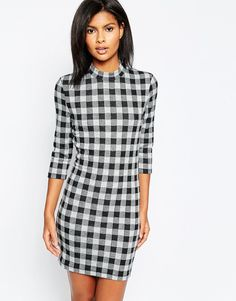 Only+Checked+Bodycon+3/4+Sleeve+Dress