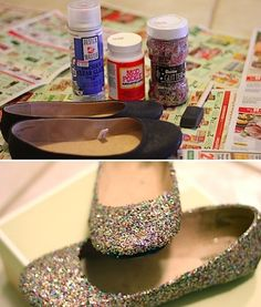 Totally want to try this.  I also have a pair of scuffed flats that would benefit from a coat of glitter...
