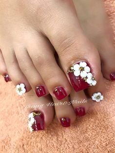 Ideas For Pedicure Designs Salon Pedicure Designs, Pedicure Nail Art, Toe Nail Designs, Toe Nail Art, Pretty Toe Nails, Cute Toe Nails, Easy Nails, Feet Nail Design, Nails Design