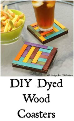 DIY dyed wood coasters for a home decor gift idea