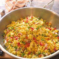 Sweet n' Spicy Corn Relish-- dip or salad Corn Relish Dip, Corn Relish Recipes, Corn Recipes, Side Dish Recipes, Vegetable Recipes, Side Dishes, Amish Recipes, Fall Recipes, Canning Corn