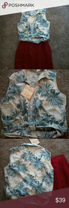 NWT Tommy Bahama 100% silk shirt size XS Shades of green blue cream and white Tommy Bahama Catalina courses sleeveless wrap size extra small this is new with tags sleeveless and ties in the front Tommy Bahama Tops