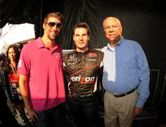 Gen. Colin Powell, Olympic legend Michael Phelps and IZOD IndyCar Series Baltimore Grand Prix race winner Will Power on the Victory Podium after the race.
