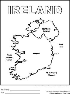 Print coloring page and book, Ireland Map Coloring Page
