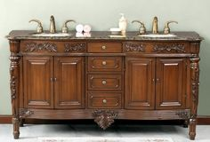 Double vanity with Antique brass hardware ships fully assembled as shown in Baltic Brown solid Granite or solid Travertine top included Wooden Bed With Storage, Bed Storage, Double Sink Vanity, Bathroom Vanity Cabinets, Luxury, Vanities, Powder Room, Bathroom Ideas, Furniture