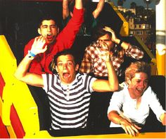 "I can't get over this picture. Niall having the time of his life, Lou being Lou, Zayn enjoying the rollercoaster that is life, and Liam protecting his hair. NOTE Harry not being there...I""M AFRAID OF ROLLERCOASTERS TOO HARRY!!!"
