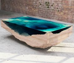 duffy london layers the abyss table to look like ocean depths. duffy london layers the abyss table to look like ocean depths all images courtesy of duffy london Unique Coffee Table, Creative Coffee, Coffee Table Design, Design Table, Glass Table, A Table, Swing Table, Cool Furniture, Furniture Design