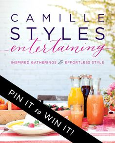 Excited for my dear friend, @camillestyles - her book Camille Styles Entertaining, is on sale October 28th! Win one of five signed editions by repinning this image originating from her Camille Styles Entertaining board to a board on your own Pinterest account between now and 10/27. You'll automatically be entered to win!