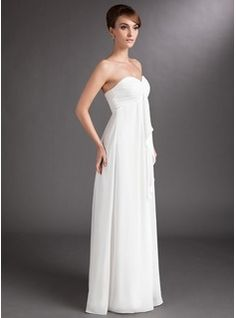 Empire Sweetheart Floor-Length Chiffon Wedding Dress With Cascading Ruffles (002001334) - JJsHouse