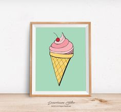 Printable wall art print - 8x10 teal, pink, yellow ice cream cone with cherry on top dessert decor