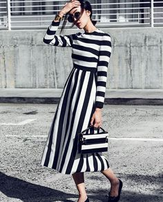 Mondays never looked so good with @chrisellelim in a #FallWinter1516 total look. #optical #stripes #monochrome