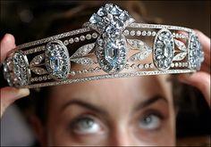 Lady Hesketh's Tiara of Sky-Blue Oval Aquamarines and Diamonds