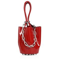 Alexander Wang Roxy Mini Patent Leather Bucket Bag ($495) ❤ liked on Polyvore featuring bags, handbags, shoulder bags, silver, mini shoulder bag, red handbags, mini handbags, shoulder hand bags and patent leather purse