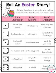 These roll a story boards will get students writing creatively all year long! There are 25 seasonal and themed boards that are packed with creative story starters! writing Roll A Story - Writing Activity 3rd Grade Writing, Kindergarten Writing, Teaching Writing, Literacy, Narrative Writing, Writing Prompts, Writing Tips, Writing Centers, Writing Paper